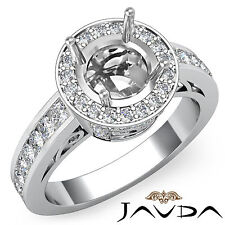 Halo Pave Diamond Engagement Round Semi Mount Ring 18k White Gold White 0.79Ct