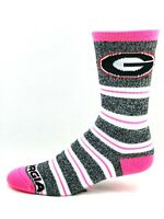 Georgia Bulldogs NCAA For Bare Feet Gray Marbled & Pink Melange Stripe Crew Sock