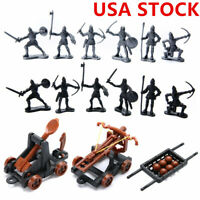 14Pcs/set Plastic Knights Catapult Crossbow Medieval Toy Soldier Figures Playset