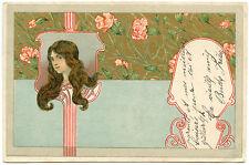 ART NOUVEAU. JOLIE FEMME. PRETTY WOMAN. OEILLETS. FLEURS FLOWERS