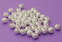 4mm silver plated brass Stardust Sparkle Round Spacer Beads 24pcs.