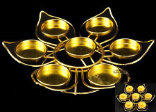 Tibet Buddhist Butter Light Candles Lamp Holder Gold Plated Seven Star Lotus Set