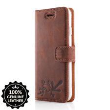 SURAZO® Premium Echtes Ledertasche Hülle Handy Case Cover Nussbraun mit Frosch