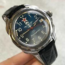 Military Watch VOSTOK Komandirskie Parachute Russian VDV Blue Dial SERVICED Date