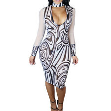 New white & black printed mesh bodycon dress party summer club wear size 8-10