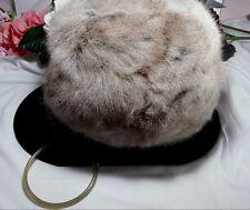 Vintage Estate Light Brown Cream Rabbit Mink Fur Hand Muff Hand Warner w handle