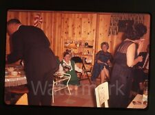 1960s Ektachrome Photo slide Christmas Party Lady with camera  cigarette