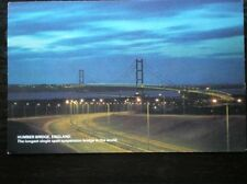 POSTCARD YORKSHIRE THE HUMBER BRIDGE AT DUSK