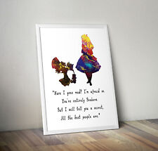 Alice in wonderland, print, poster, disney, quote, wall art, gift, picture