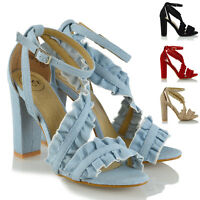 Womens Ankle Strap Ruffle Block High Heel Sandals Ladies Party Shoes Size 3-8