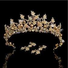 STUNNING GOLD CROWN/TIARA WITH CLEAR CRYSTALS & BRONZE PEARLS, MATCHING EARRINGS