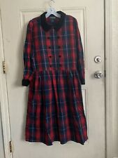Vintage Jg Hook Plaid Flannel Dress 10P Red Black 100% Cotton Oversized Cozy
