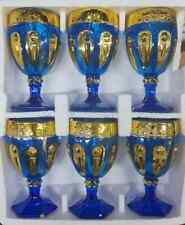 6 X BLUE WITH GOLD DESIGN FOOTED WATER / JUICE / WINE GLASSES GOBLETS