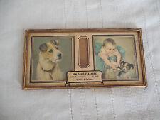 Vintage advertisement desk top thermometer fox terrier car print