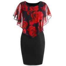 Women Plus Size XL-5XL Party Overlay Dress Rose Chiffon Ruffles Mini Dress NEW