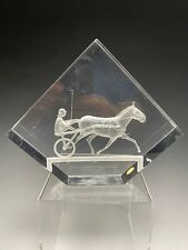 Vintage Michael Cox Harness Horse Racing Lucite Paperweight