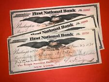 HUGE AMERICAN EAGLE ABNC BANK CHECK LOT BURLINGTON VERMONT USA US VT 1870 OLD