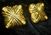 Vtg FENDI Designer Gold Tone Logo Maltese Cross Retro Runway Glam EARRINGS