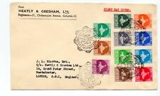 INDIA 1957 DEFINITIVES ( 11 ) USED ON FDC