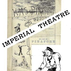 1879 HMS Pinafore Imperial Theatre programme Gilbert & Sullivan not D'Oyly Carte
