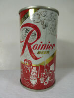 Rainier Jubilee flat with lids, red 'Entertainment' by Sick's Spokane Brewery