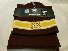 University of Minnesota knit winter set hat and scarf maroon and gold nwt new