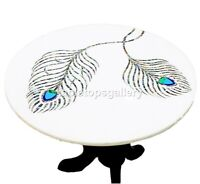 """24"""" Marble Top Coffee Table Peacock Feather Art Paua Shell Inlay Home Decor W590"""