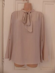 """Lovely M&S Collection UK 14 """"coffee"""" (beige/nude) coloured long sleeved top, tie"""