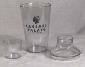Ceasars Palace Las Vegas Cocktail Shaker Martini Drink Mixer Set Clear 16 oz New