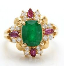 2.99 Carat Natural Emerald Sapphire & Diamonds in 14K Yellow Gold Women Ring