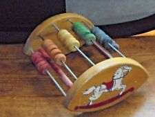 Vintage 1940s Holgate Wood Rocking Horse Abacus Toy Educational Collectible