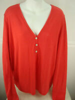 Victoria's Secret Women Red Long Sleeve Pullover  Sz.Large Henley/Blouse