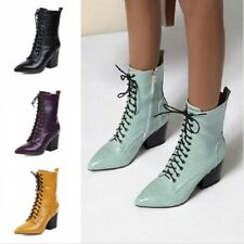 Women Biker Mid Heel Block Pointy Toe Ankle Boots Snakeskin Western Shoes 34-43