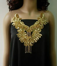 NK32 Sequined Beaded Applique Fringed Mirror Neckline Gold Samba/Belly Dance