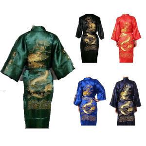 Asia Big Drachenmotiv Herren/Damen Wende-Kimono Bade-/Morgenmantel Satin Hot