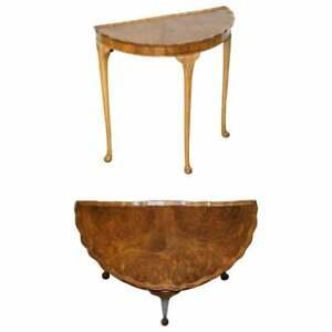 LOVELY VINTAGE ART DECO STYLE BURR WALNUT DEMI LUNE HALF MOON CONSOLE SIDE TABLE