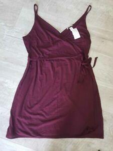BNWT Ladies Burgundy Strappy Wrap Dress H&M - sz XL