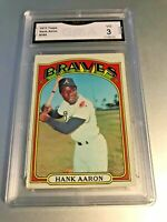 HANK AARON (HOF) 1972 Topps #299 GMA Graded 3 VG