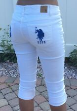 US Polo Assn Womens White Denim Cropped Jeans Size 7/8 Capri Pants Roll Up Cuff