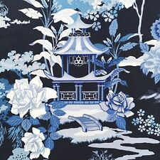 Oriental pagodas fabric, blue willow pattern temples, Chinese Japanese cotton