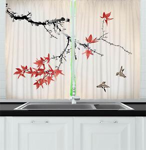 Ambesonne Kitchen Cafe Decor Window Drapes 2 Panel Set Curtains