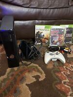Microsoft Xbox 360 Slim S 4GB Black Console w/ Cords & Controller NICE