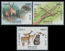 LAOS N°1513/1515** Non à la chasse, 2003 Stop hunting campaign Sc#1587-1589 MNH