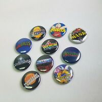 "Lot of 10 1"" 80s toy logo buttons pinback - punk pins- NOS - motu madballs more+"