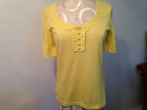 L.L. Bean Yellow 100% Cotton Womens Short Sleeve Tee Shirt Size XS