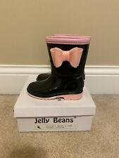 Toddler GIRLS jelly BEANs PINK Black PUDDLE JUMPERS RAIN BOOTS With Bow Size 7