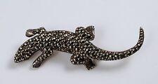 Sterling Silver Marcasite Lizard Salamander Gecko Figural Pin Brooch