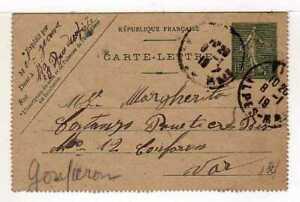 A4509) FRANCE 1919 Stationery C. 15c  Nizze Gonfaron