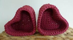 Set of 2x Lovely Handmade Crochet Heart Basket Decorative Storage Basket's