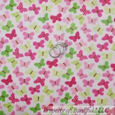 BonEful Fabric FQ Cotton Quilt Flannel Pink Green BUTTERFLY Breast Cancer Girl S
